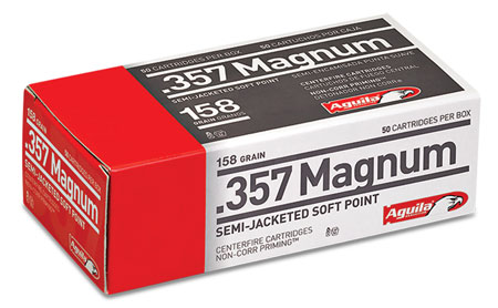 Aguila 1E572821 357 Magnum 158 GR Semi-Jacketed Hollow Point 50 Bx| 20 Cs
