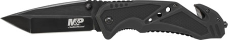 Schrade SWMP11B M&P Knife 3.79 7Cr17MoV Stainless Steel Tanto Aluminum Black in.
