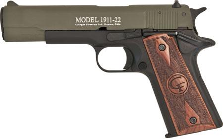 Chiappa Firearms 401121 1911 Single 22 Long Rifle (LR) 5 10+1 Hogue Rubber Grip Grip OD Green in.