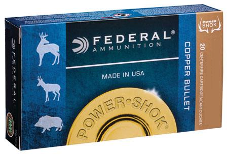 Federal 300WSM180LFA Power-Shok Rifle 300 Winchester Short Magnum (WSM) 180 GR Copper Hollow Point 20 Bx| 10 Cs