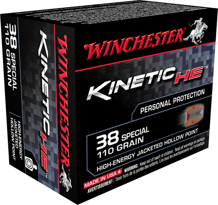 Winchester Ammo HE38JHP Kinetic High Energy 38 Special 110GR Jacketed Hollow Point 20 Bx|10 Cs