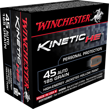 Winchester Ammo HE45JHP Kinetic High Energy 45 Automatic Colt Pistol (ACP) 185 GR Jacketed Hollow Point 20 Bx| 10 Cs