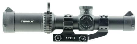 Truglo TG8514TLR Omnia Tactical 1-4x 24mm Obj 97.36-23.74 ft @ 100 yrds FOV 30mm Tube Black Hardcoat Anodized Finish Illuminated Duplex Mil-Dot