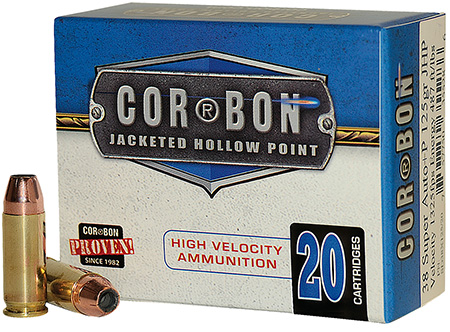 CorBon Self Defense, 38 Super, 125 Grain, Jacketed Hollow Point, +P, 20 Round Box 38X12520
