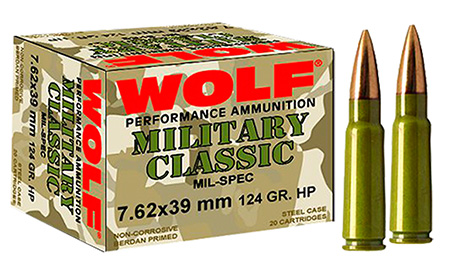 Wolf MC762BSP Military Classic Steel Case 7.62X39mm 124 GR Soft Point 20 Bx| 50 Cs 1000 Total