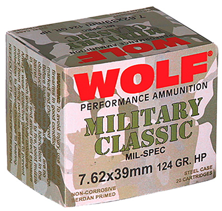 Wolf MC762BHP Military Classic Steel Case 7.62X39mm 124 GR Hollow Point 20 Bx| 50 Cs  1000 Total