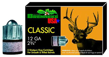 Brenneke SL122CLM Classic Magnum 12 Gauge 2.75 1-1|8 oz Slug Shot 5 Bx| 50 Cs in.