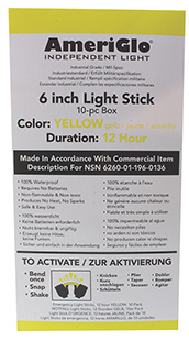 AmeriGlo 612HY1OB 6 12 Hour Yellow Waterproof Light Stick/10 Pack in.