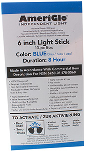 AmeriGlo 608HB10B 6 8 Hour Blue Waterproof Light Stick/10 Pack in.