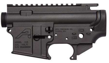 Aero Precision APCS100002 AR-15 Stripped Receiver Set Multi-Caliber AR Platform Black Hardcoat Anodized