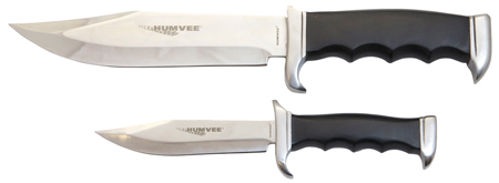 Humvee Accessories HMVBC02BK Bowie Knife Set Fixed Plain Polished Stainless Steel Black Pakawood Handle Fixed