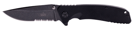Uzi Accessories UZKFDR017 Tactical Folding Knife EVN Stone Wash II Stainless Steel Straight|Serrated Combo G10 Black