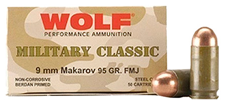 Wolf MC918FMJ Military Classic Pistol 9x18 Makarov 95 GR Full Metal Jacket 50 Bx| 20 Cs 1000 Total (Case)