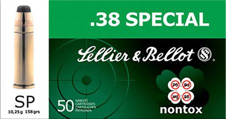 Sellier & Bellot SB38NT Handgun 38 Special 158 GR TFMJ 50 Bx| 20 Cs
