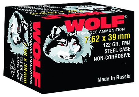 Wolf 762BFMJ PolyFormance Rifle 7.62X39mm 123 GR Full Metal Jacket 20 Bx| 50 Cs 1000 Total (Case)