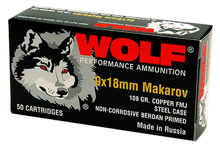 Wolf 918FMJ PolyFormance Pistol 9x18 Makarov 94 GR Full Metal Jacket 50 Bx| 20 Cs 1000 Total (Case)