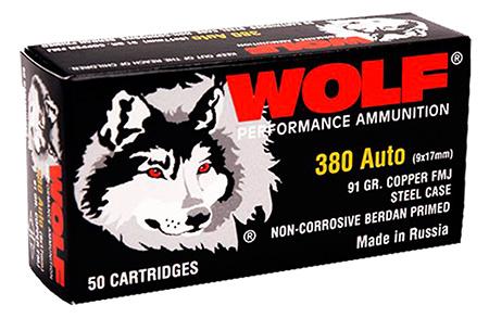 Wolf 917FMJ PolyFormance Pistol 380 Automatic Colt Pistol (ACP) 91 GR Full Metal Jacket 50 Bx| 20 Cs 1000 Total (Case)