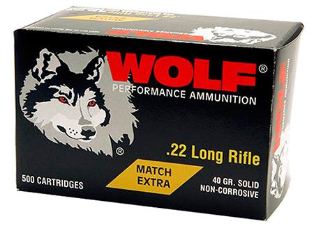 Wolf 22XTRA Performance Match Target 22 Long Rifle (LR) 40 GR Round Nose 50 Bx/ 10 Cs 5000 Total (Case)