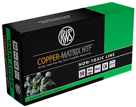 290040050 NTF RWS Copper-Matrix 9mm Luger 85 GR Non-Tox Frangible 50 Bx|10 Cs