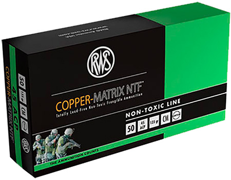 204540050 NTF RWS Copper-Matrix 45 ACP 135 GR Non-Tox Frangible 50 Bx|10 Cs