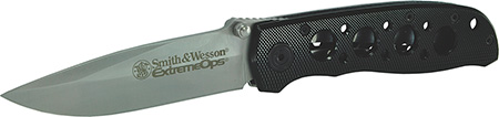 S&W Knives CK105BK Extreme Ops Folder 3.22 400 Stainless Drop Point Aluminum Black in.