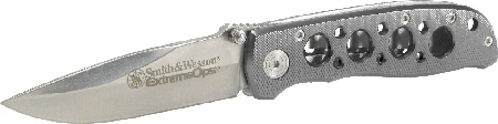 S&W Knives CK105H Extreme Ops Folder 3.22 400 Stainless Drop Point Aluminum Silver in.
