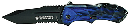 S&W Knives SWBLOP3TBLS Black Ops Folder 3.4 4034 Stainless Steel Drop Point Tanto Aluminum in.