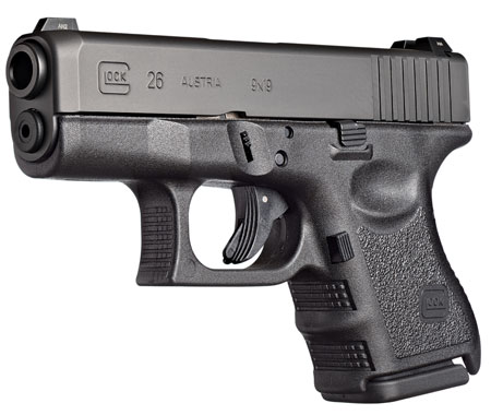 Glock UI2650201 G26 Subcompact Double 9mm Luger 3.42 10+1 Black Polymer Grip|Frame Grip Black in.