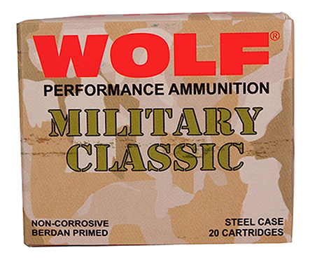Wolf MC3006FMJ168 Military Classic Rifle 30-06 Springfield 168 GR Full Metal Jacket 20 Bx| 25 Cs 500 Total (Case)