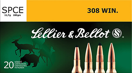 Sellier & Bellot SB308F Rifle Hunting 308 Win|7.62 NATO 180 GR SPCE (Soft Point Cut-Through Edge) 20 Bx| 25 Cs