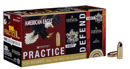 Federal PAE40180HST American Eagle Pratice and Defend Combo 40 Smith & Wesson (S&W) 180 GR Full Metal Jacket|HST 120 Bx| 4 Cs