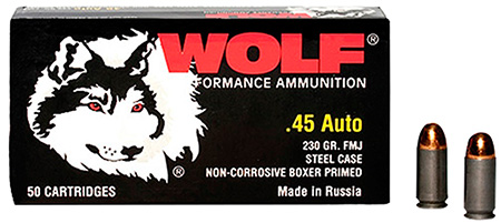 Wolf MC45FMJ Military Classic Pistol 45 Automatic Colt Pistol (ACP) 230 GR Full Metal Jacket 50 Bx| 10 Cs 500 Total (Case)