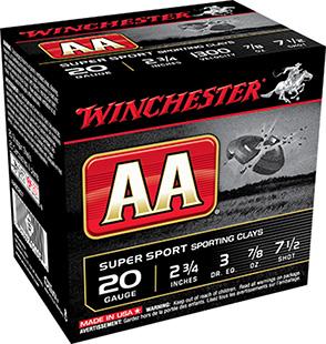 Winchester Ammo AASC207TO AA TrAAcker 20 Gauge 2.75 7|8 oz 7.5 Shot 25 Bx| 10 Cs in.