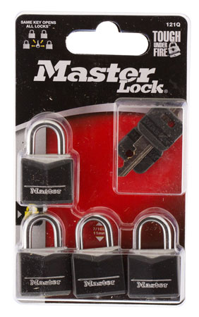 Master Lock 121Q Wide Covered Padlock 4 Pack Black