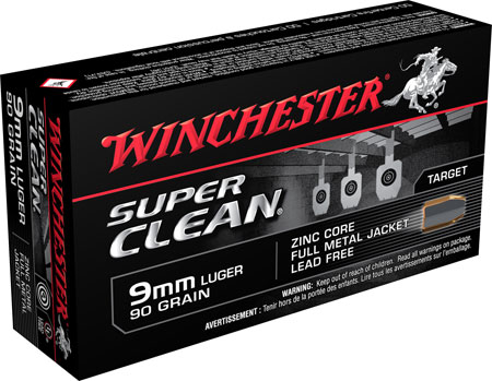 Winchester Ammo W9MMLF Super Clean 9mm Luger 90 GR Full Metal Jacket 50 Bx| 10 Cs