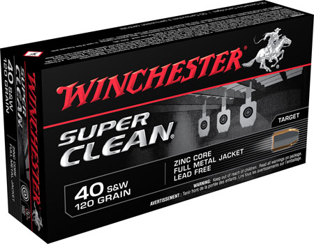 Winchester Ammo W40SWLF Super Clean 40 Smith & Wesson 120 GR Full Metal Jacket 50 Bx| 10 Cs