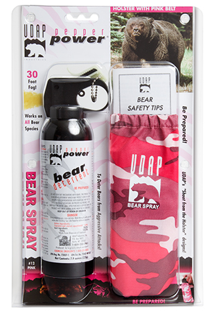 UDAP 12PINK Bear Spray w|Pink Camo Holster and Belt 7.9oz|225g Up to 35 Feet