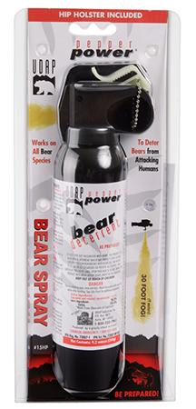 UDAP 15HP Super Magnum Bear Spray w|Hip Holster 9.2oz|260g Up to 35 Feet Black
