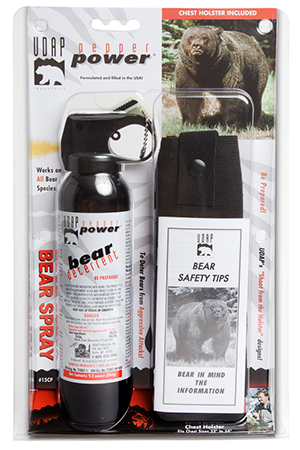 UDAP 15CP Super Magnum Bear Spray w|Chest Holster 9.2oz|260g Up to 35 Feet Black